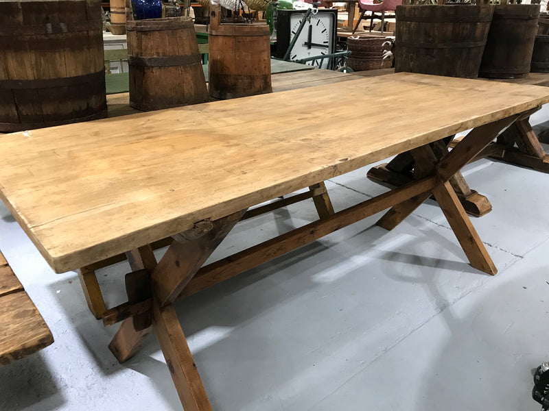 Vintage industrial European kitchen farmhouse dining table 2.1 long #1965 D8