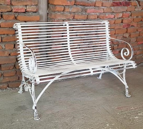 Vintage style French wrought iron Garden bench seat  # 2500 B end of may container