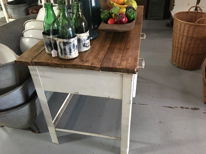 Vintage industrial European enamel butcher table #1870