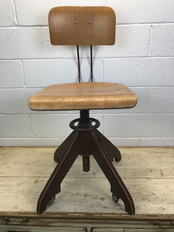 Vintage industrial wooden Atelier desk chair #913