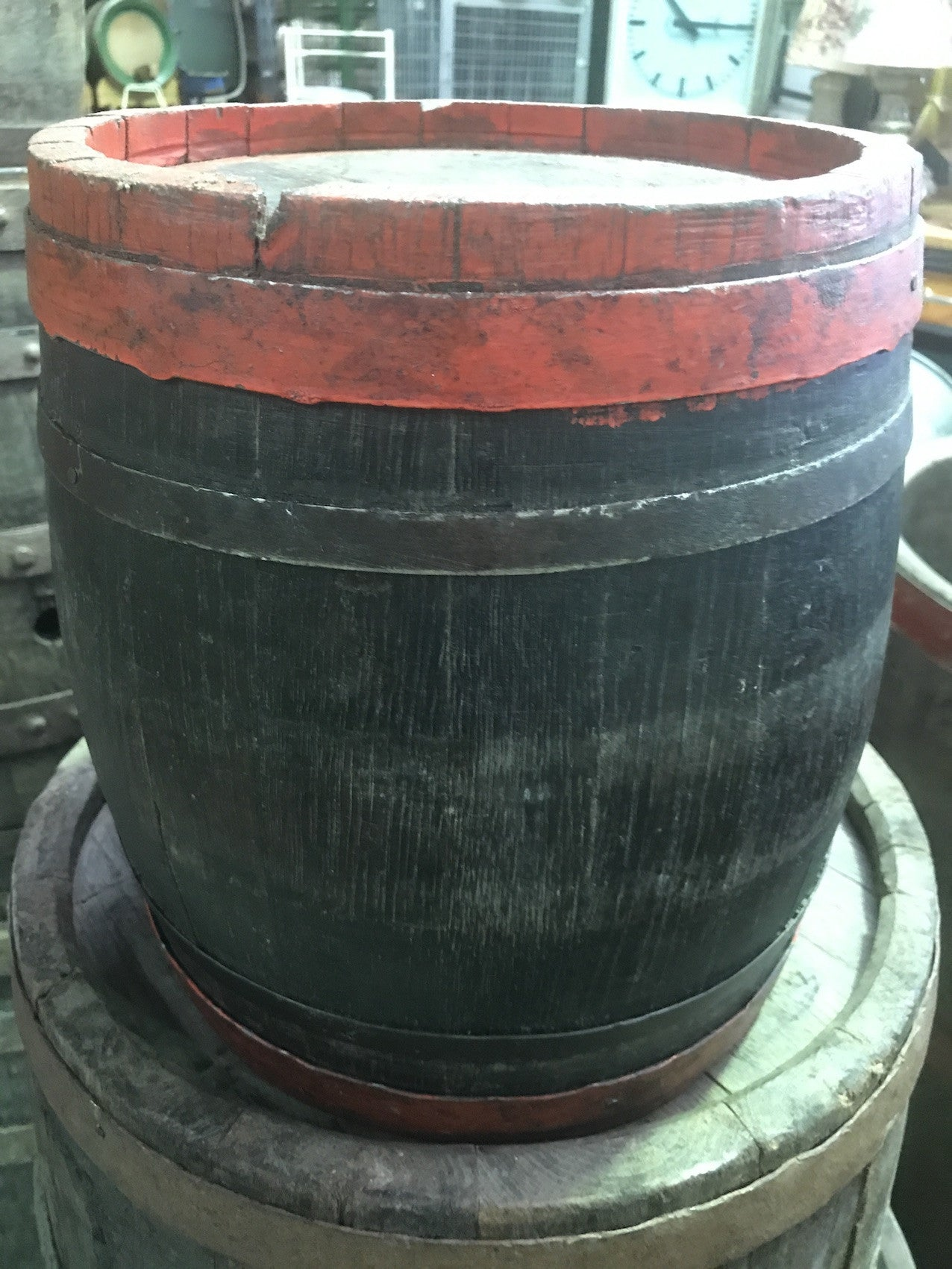 Vintage industrial French oak  round wine barrel #1706 s