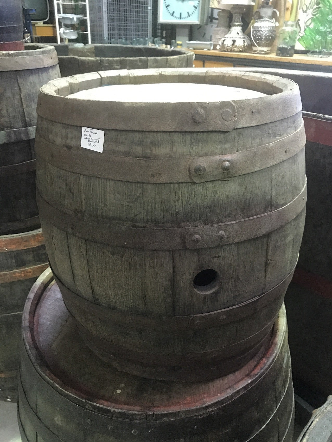 Vintage industrial French oak  round wine barrel #1707 m