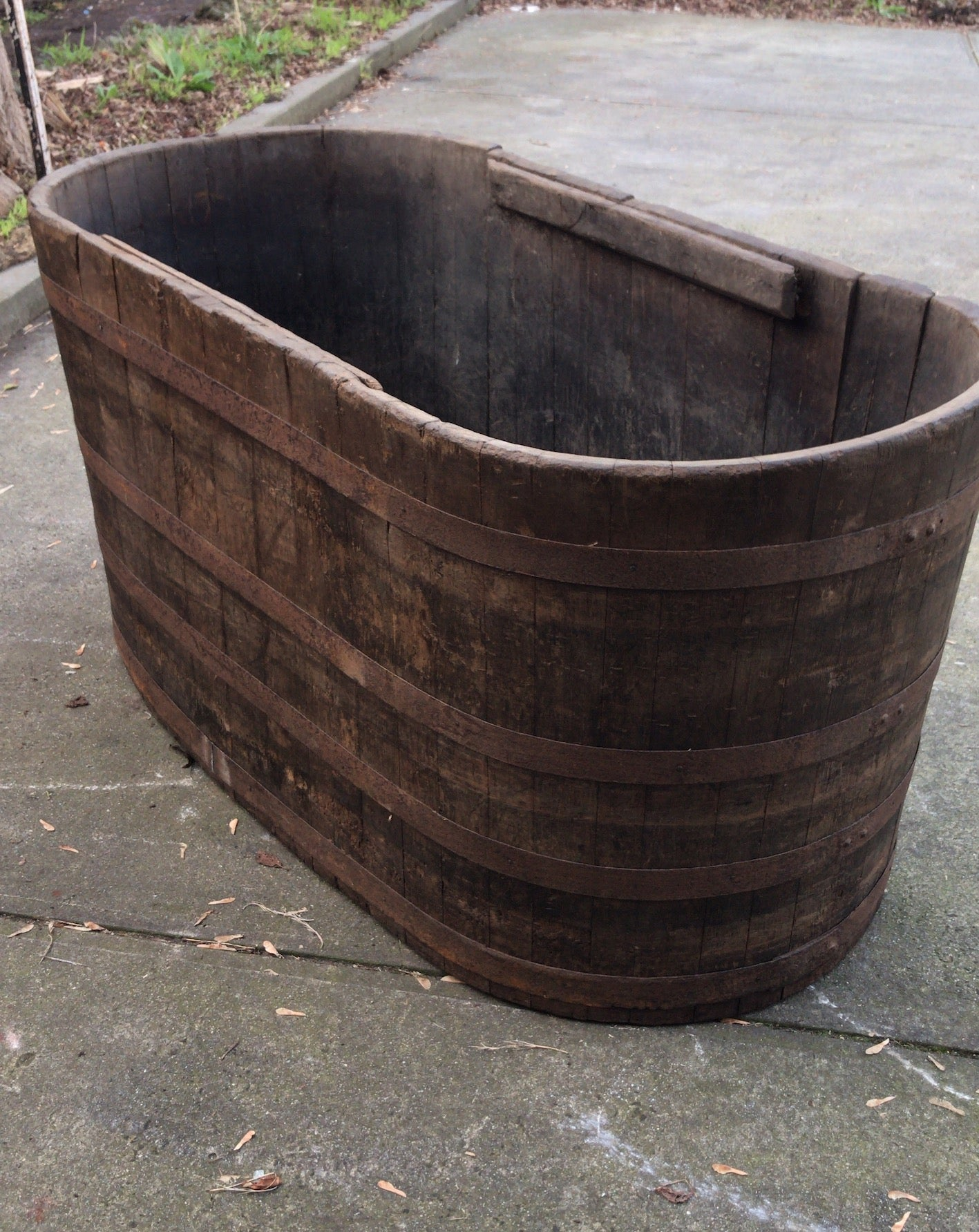 Vintage industrial French oak oval half wine barrel bath tub #2444