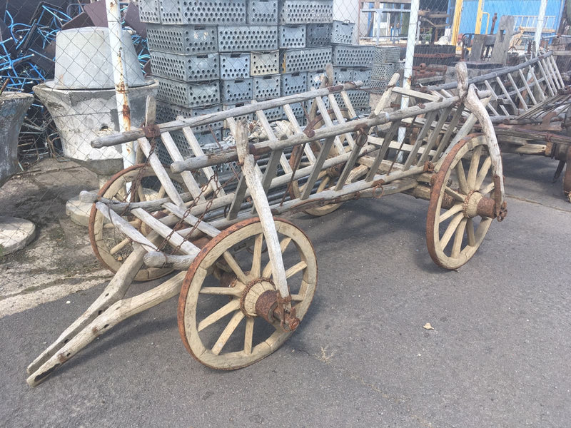 Vintage industrial European wooden horse Wagon cart #1906