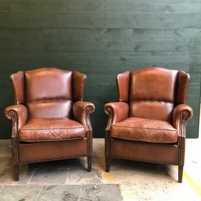 Vintage  French 1940s leather club chair SET  #3141 December container