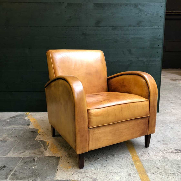 Vintage  French 1940s  leather club chair #3139 December container