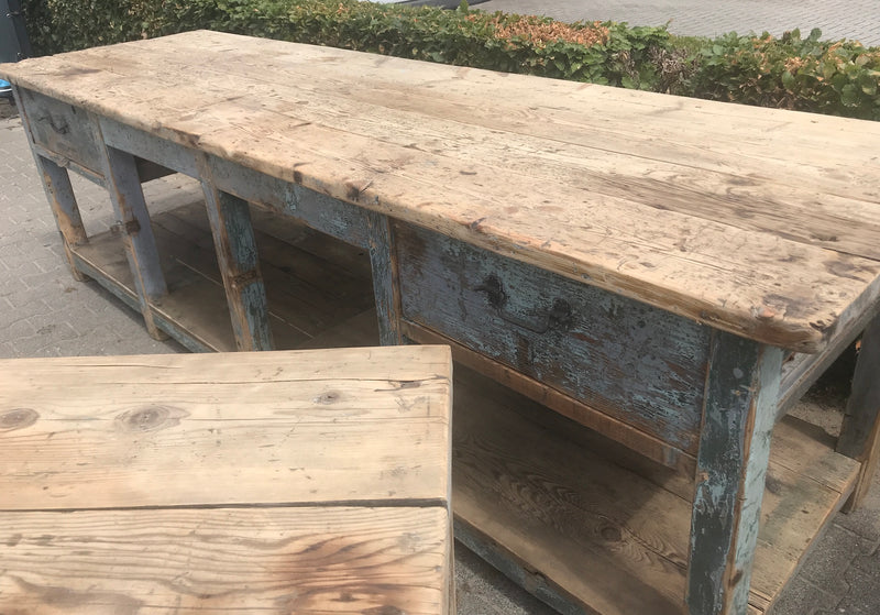 Vintage industrial European workbench table counter kitchen island 3.0 mt #2518