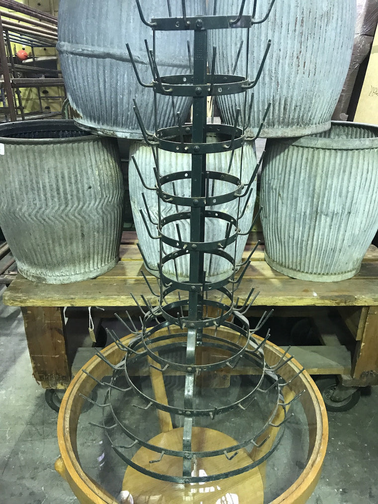 Vintage industrial French wine bottle drying rack #1859