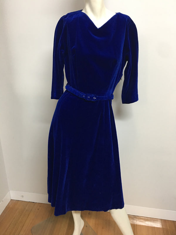 Vintage Velvet Dress #C094 FREE POSTAGE AUS WIDE