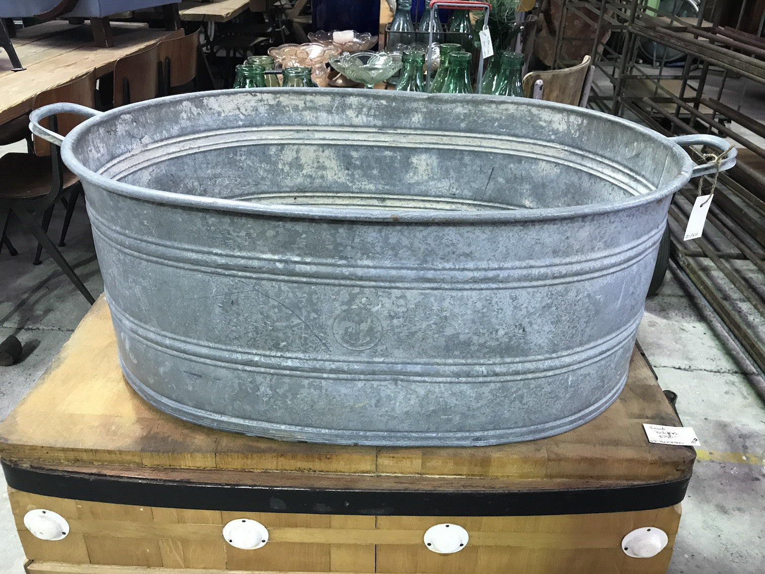 Vintage industrial Czech 40s galvanized oval wash tub #1864