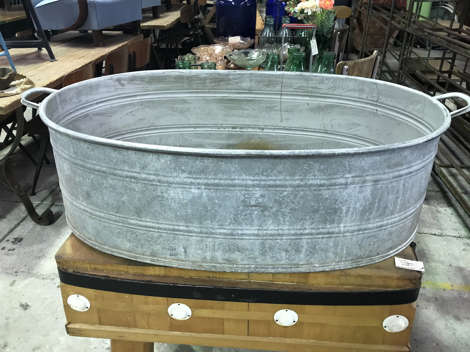 Vintage Industrial Czech 40s Galvanised Oval Wash Tub