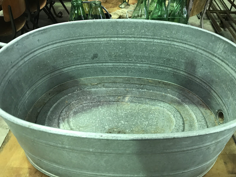 Vintage industrial Czech 40s galvanised oval wash tub #1866/3
