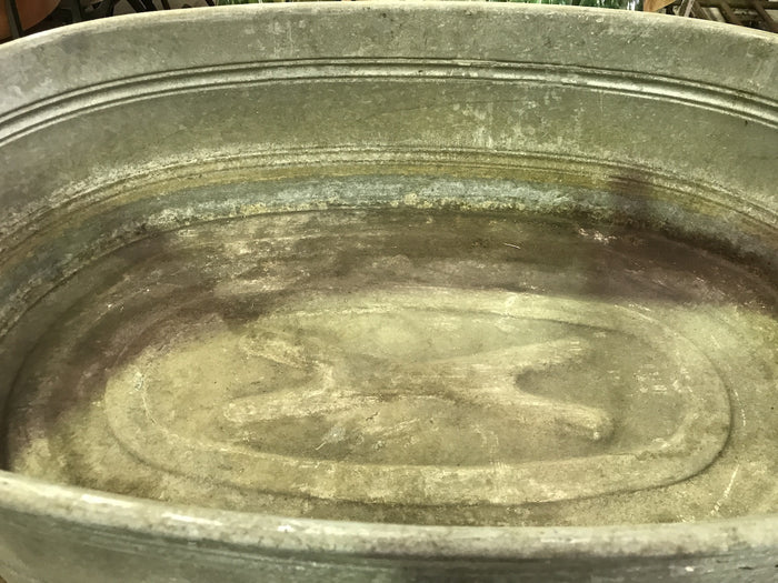 Vintage industrial Czech 40s galvanised oval wash tub #1869/6
