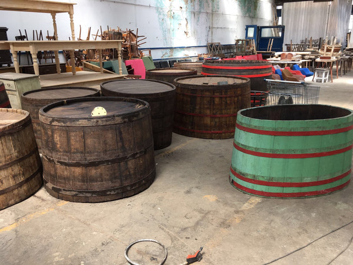 Vintage industrial French oak huge round wine barrel #1912