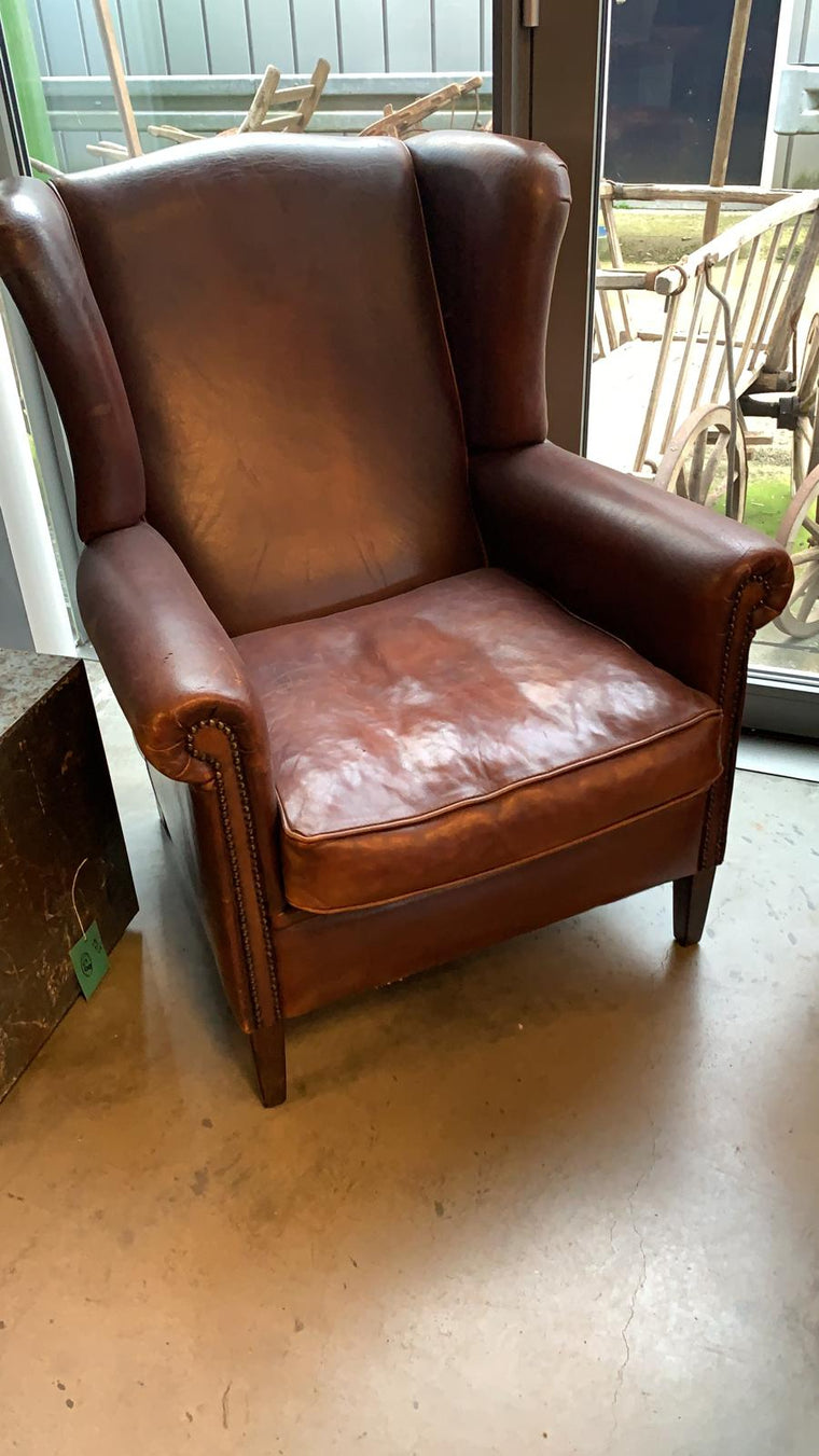 Vintage French 1940s leather club chair VLS #3188  January container