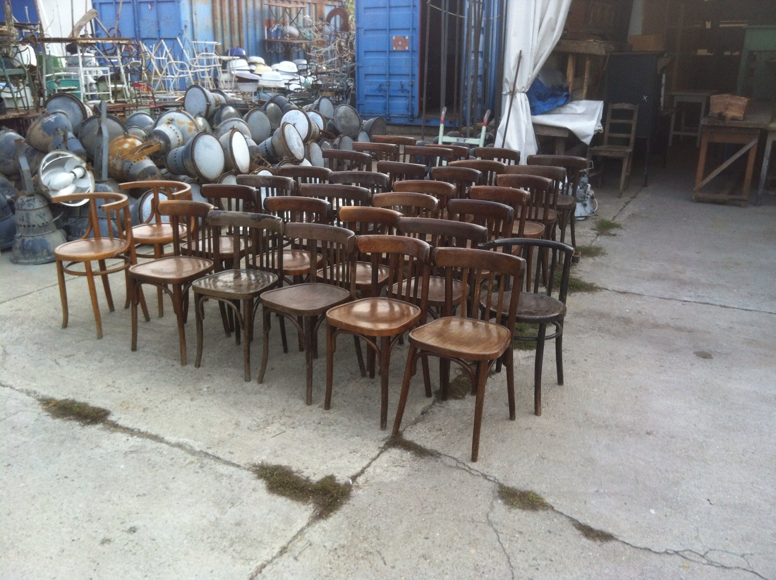 Vintage industrial original THONET chairs #1907 May container