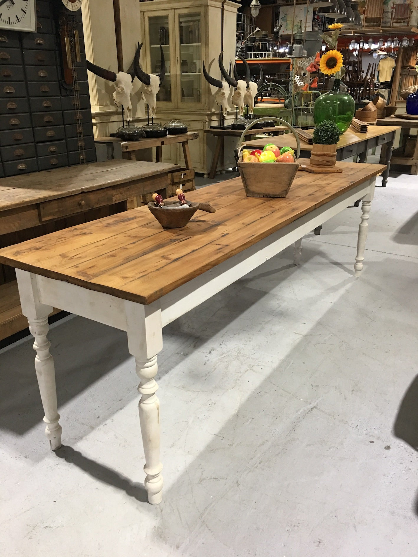 Vintage industrial European FARM kitchen dining table  #2305