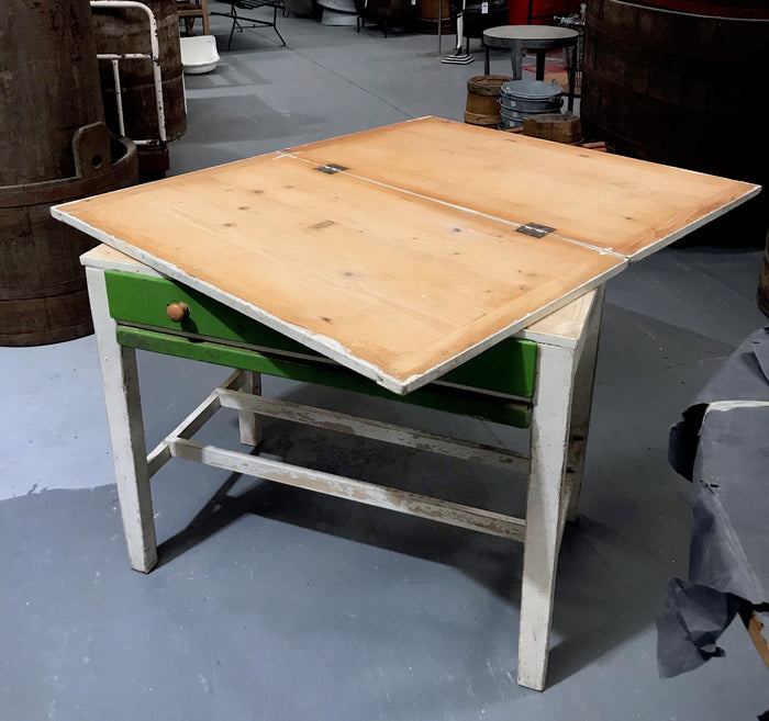 Vintage industrial European kitchen farmhouse dining table #3179 Foldout
