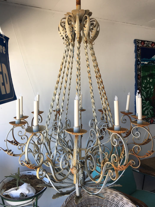 Vintage industrial French wrought iron chanderlier HUGE #2012 Byron