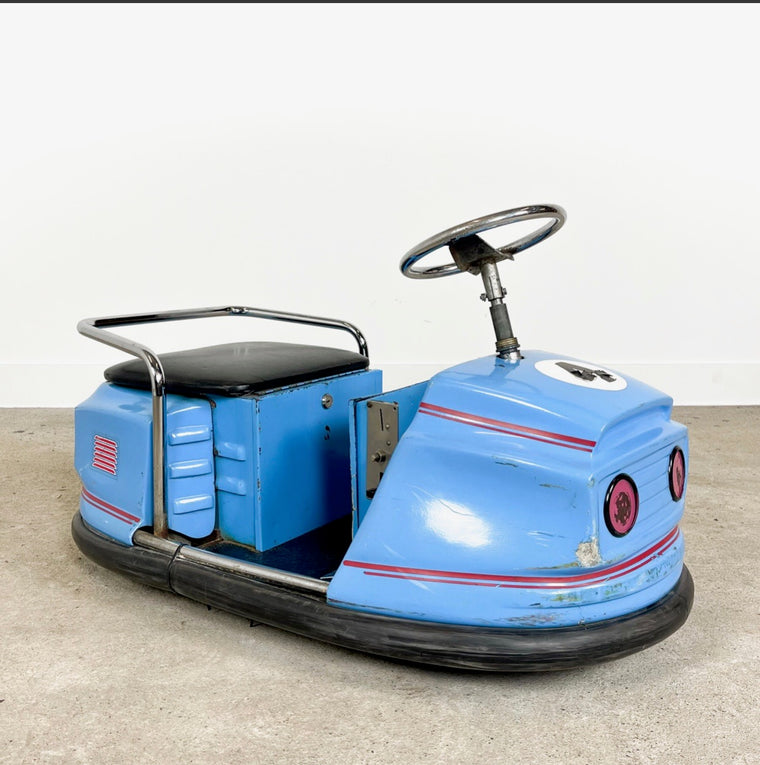 Vintage Belgian Kids bumper car 1960-70s #3319 blue car May container