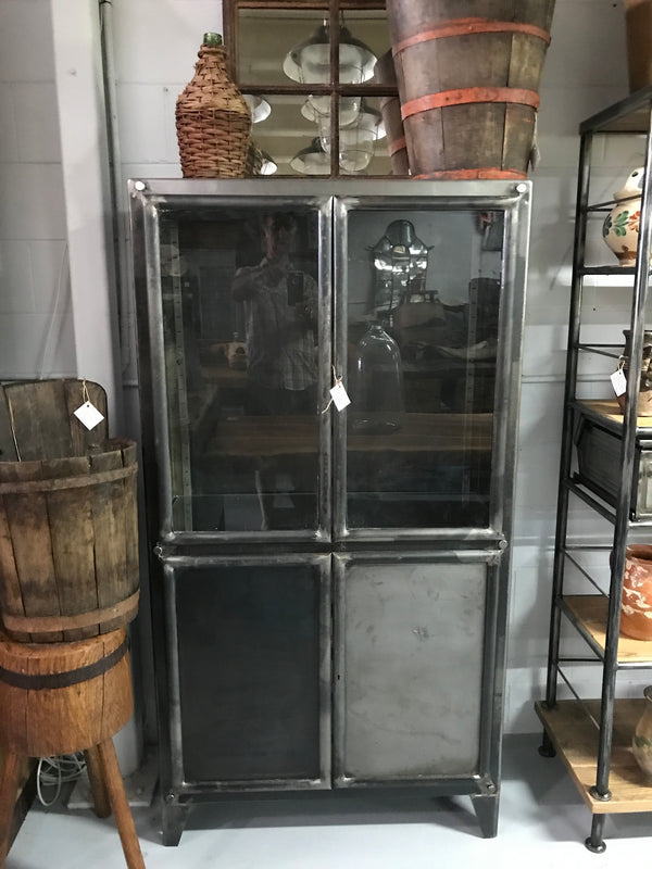 Vintage industrial European  1940s polished steel medicine cabinets #2030