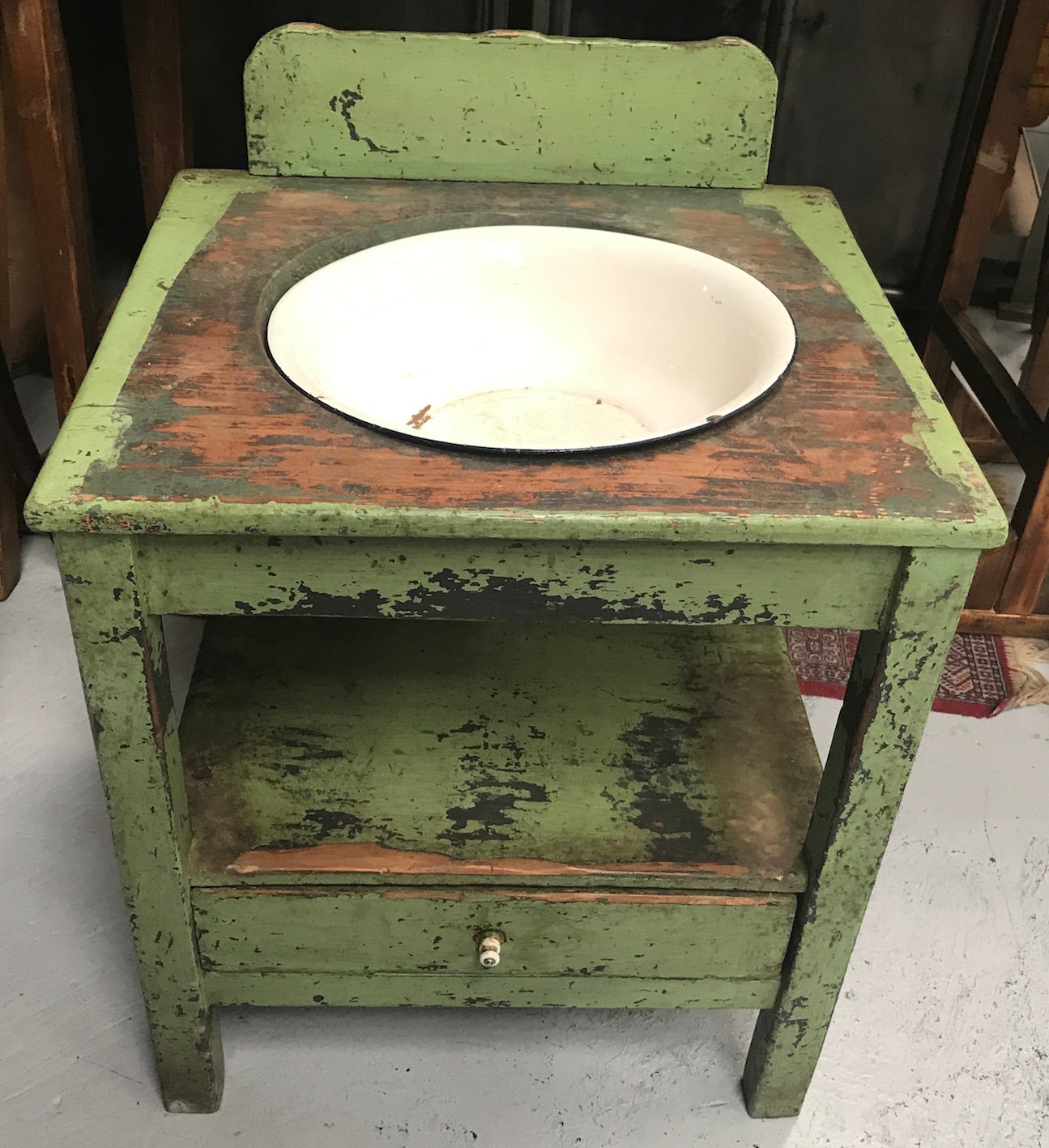 Vintage industrial European wooden wash stand with enamel bowl #2154