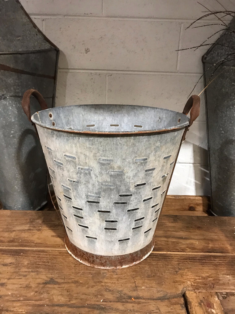 Vintage Turkish Olive Picking Bucket  #3364