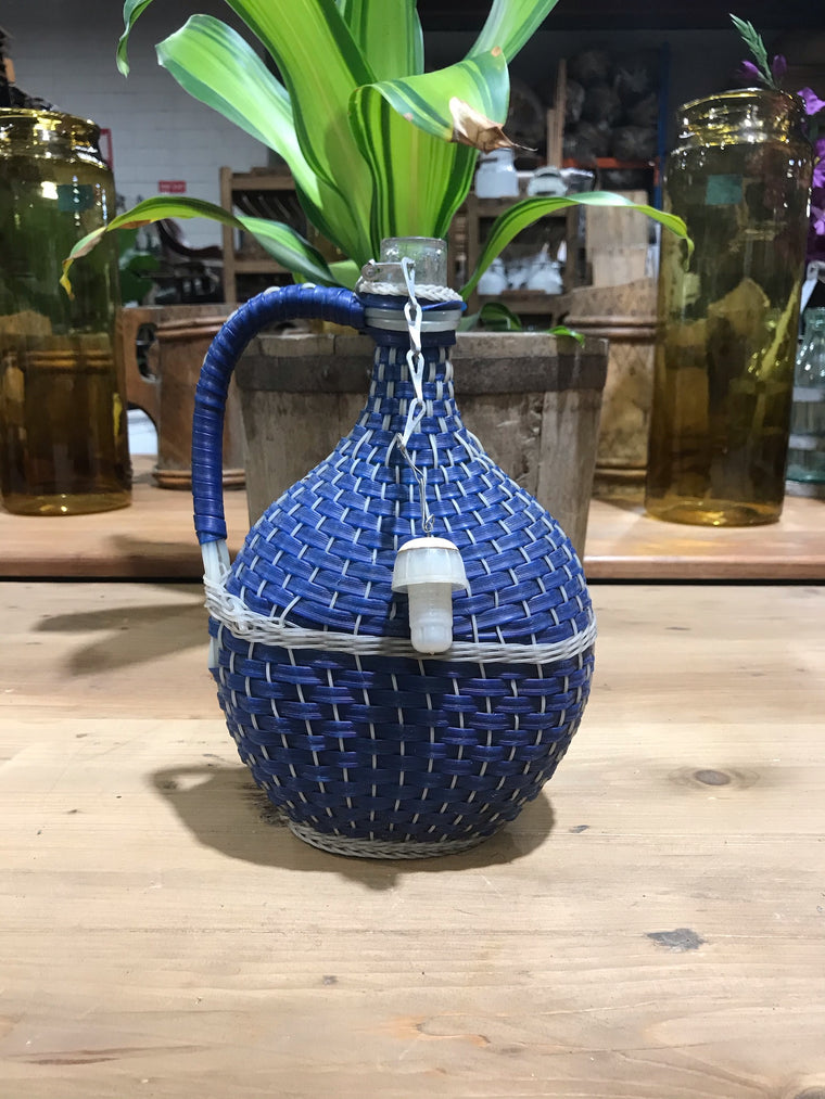 Vintage European Plastic Wicker  Wine Demijohn Bottle  #3440/ 4