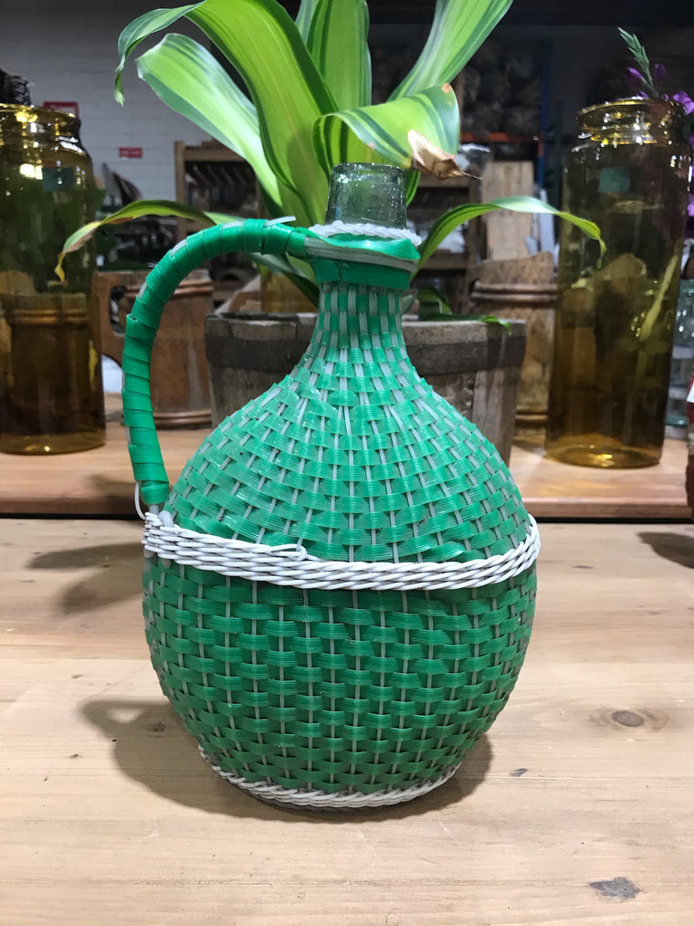 Vintage European Plastic Wicker  Wine Demijohn Bottle  #3440/ 6