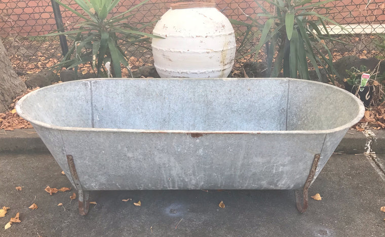 Vintage European  Galvanised Bath Tubs #3444/ 1