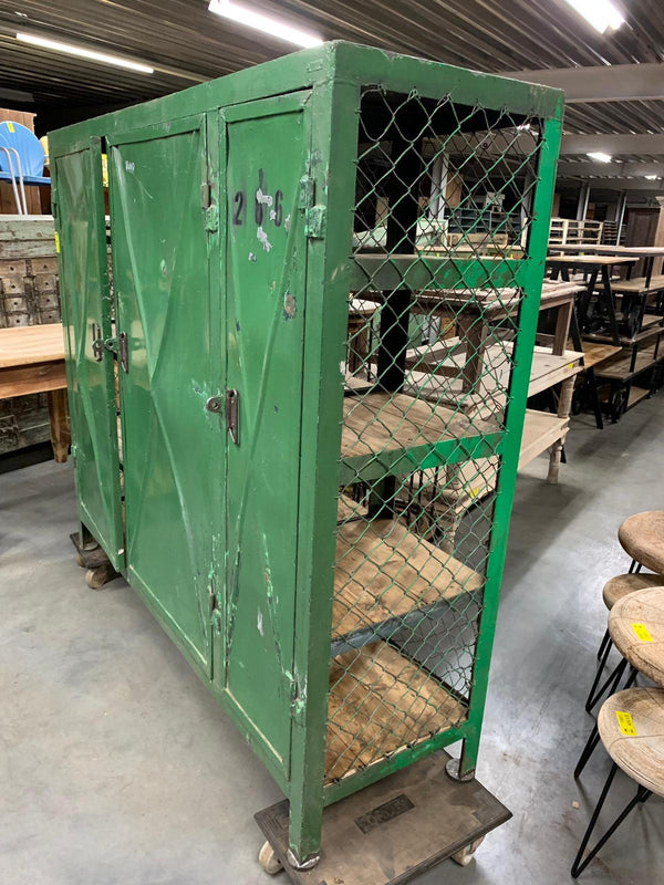 Vintage  Dutch metal mesh wire locker cabinet #2718