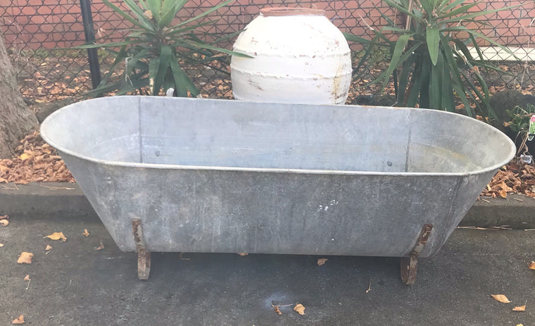Vintage European  Galvanised Bath Tubs #3444/ 3