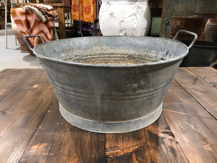 Vintage  European Galvanised Wash Tub # 3452 D