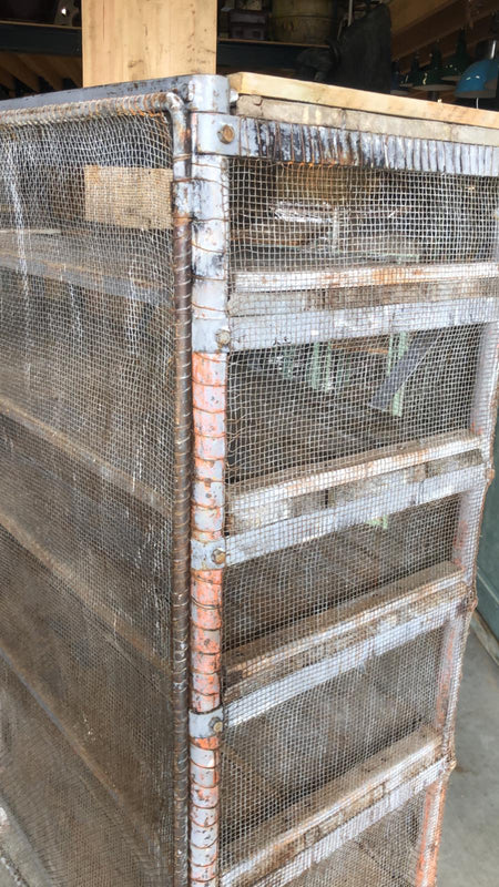 Vintage  dutch metal mesh wire locker cabinet #2603