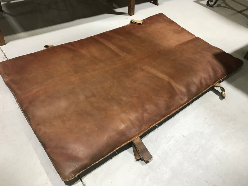Vintage industrial Romanian 1940s leather Gym mat #2219
