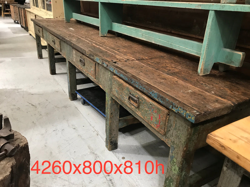 Vintage industrial European workbench table counter kitchen island 4.2 mt #2517 B