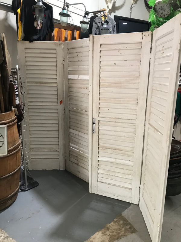 vintage French wooden house door  2.8 mt wide #2623 wht shutters