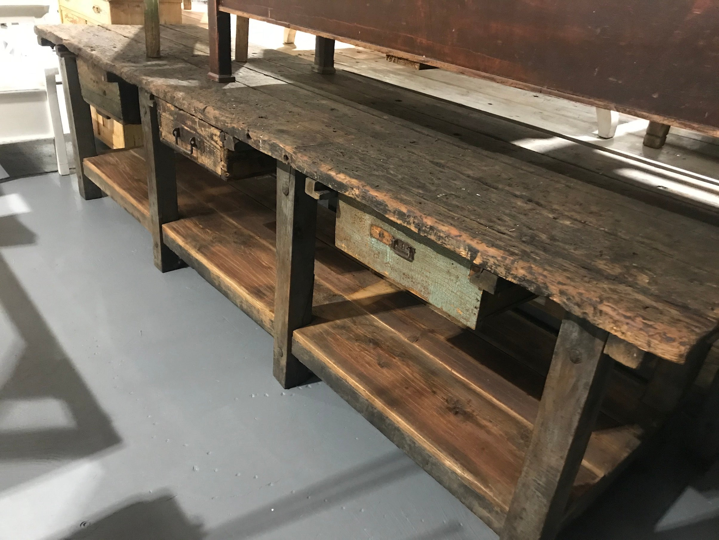 Vintage industrial European workbench table counter kitchen island 3.0 mt #2615