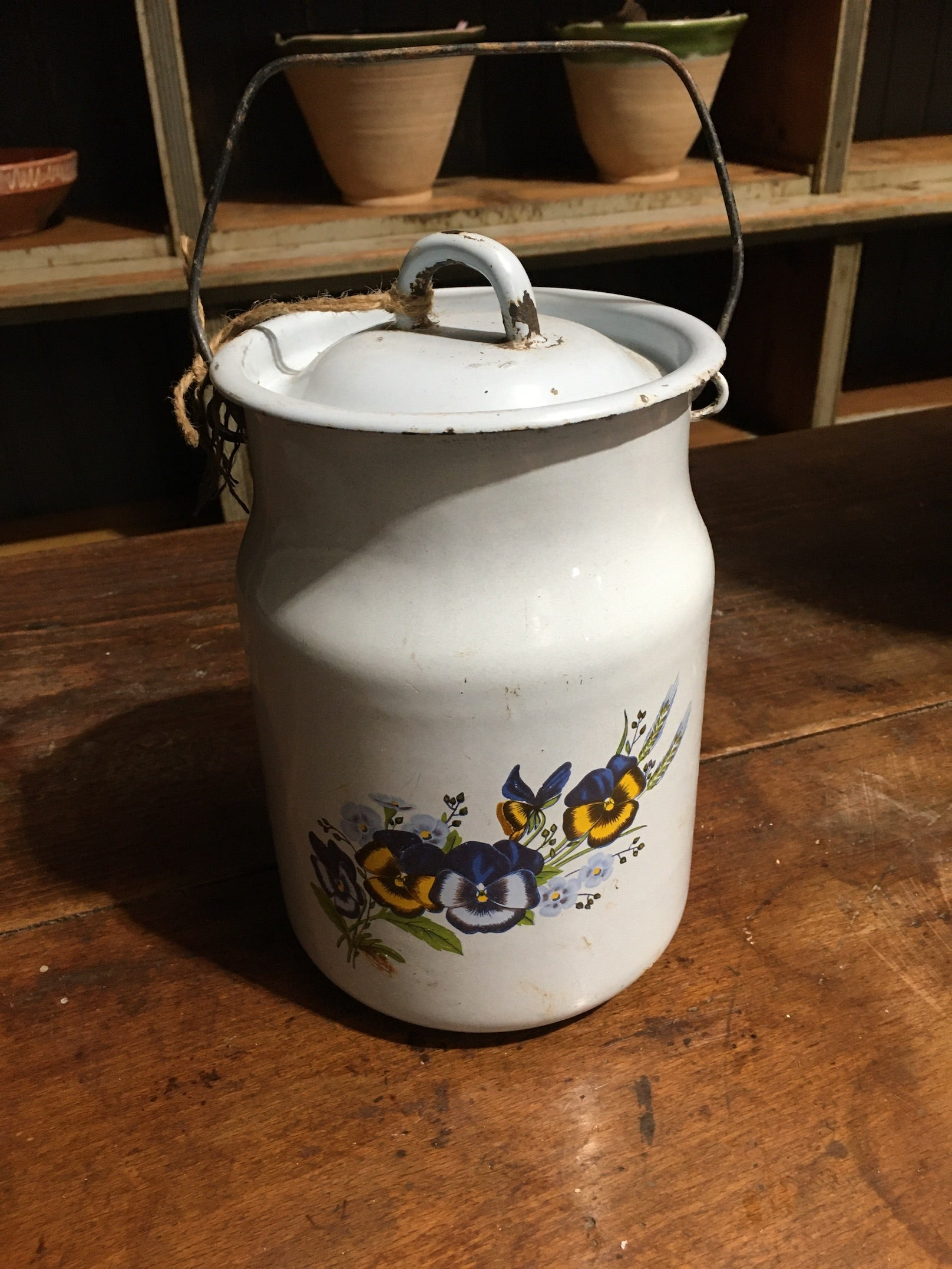 Vintage European Enamel Milk Can #2793 (Light Blue)