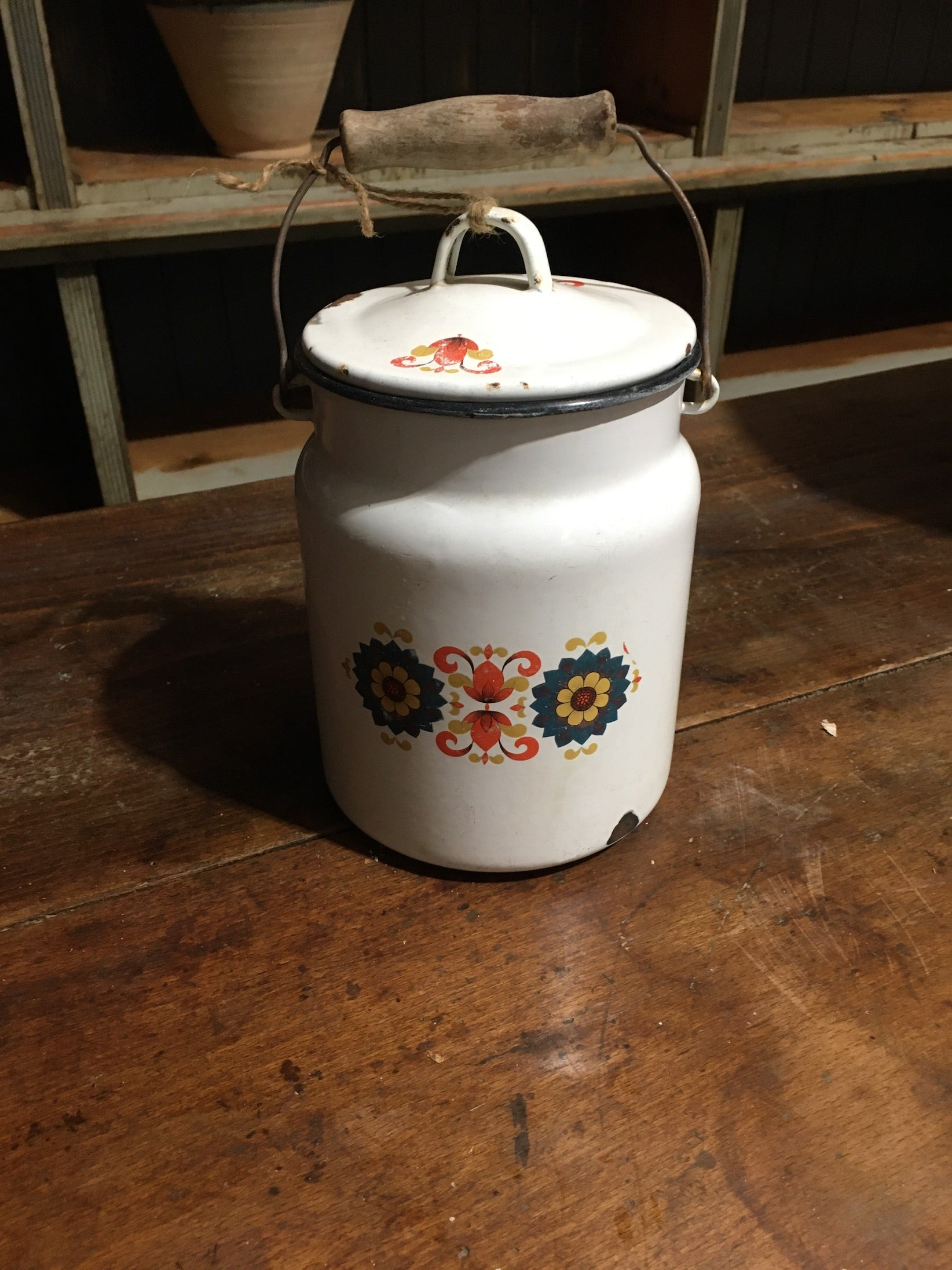 Vintage European Enamel Milk Can #2795