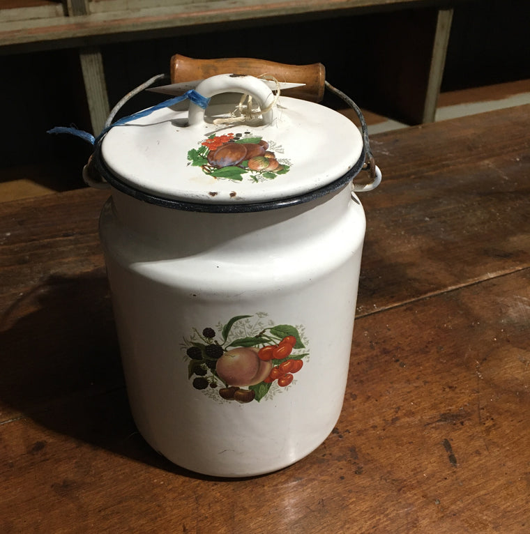 Vintage European Enamel Milk Can #2802