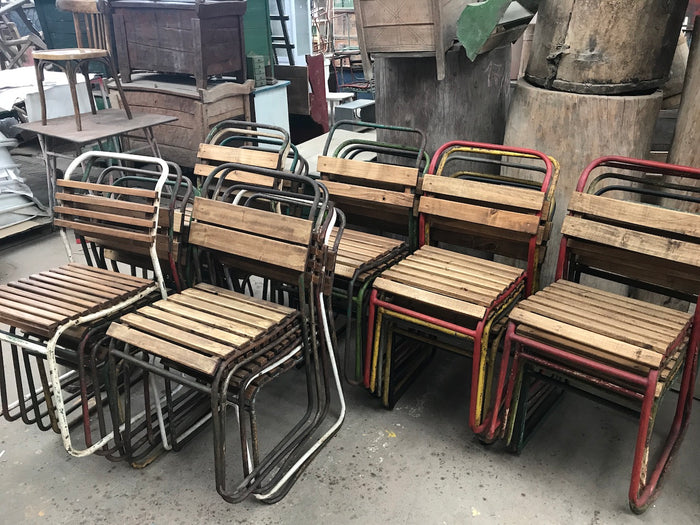 Vintage industrial French  cafe bistro garden chairs #2320