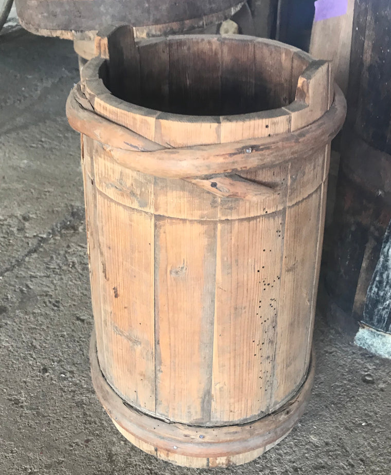 Vintage  European wooden bucket open churn #2699 April container Byron