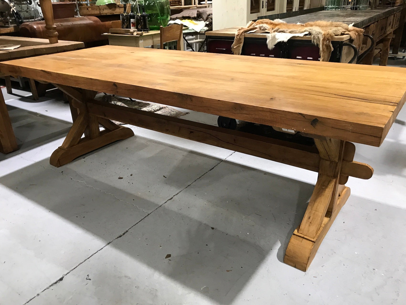 Vintage industrial European FRENCH OAK kitchen  dining table  2.5 long #2218