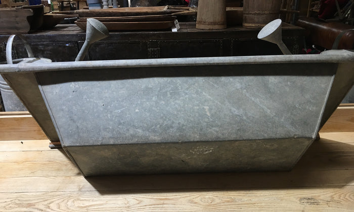 Vintage European 1940s Galvanized Wash Tub #2995 (1)