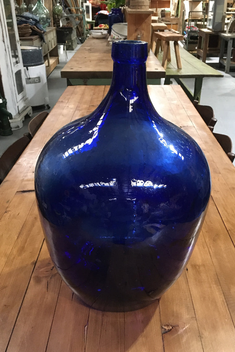 Vintage European Blue Demijohn Bottle #3014 (2)