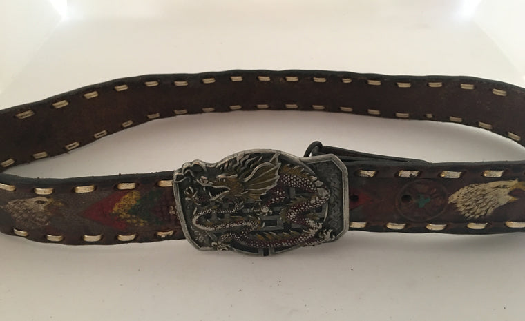 Vintage Leather Belt #C102 FREE POSTAGE AUS WIDE