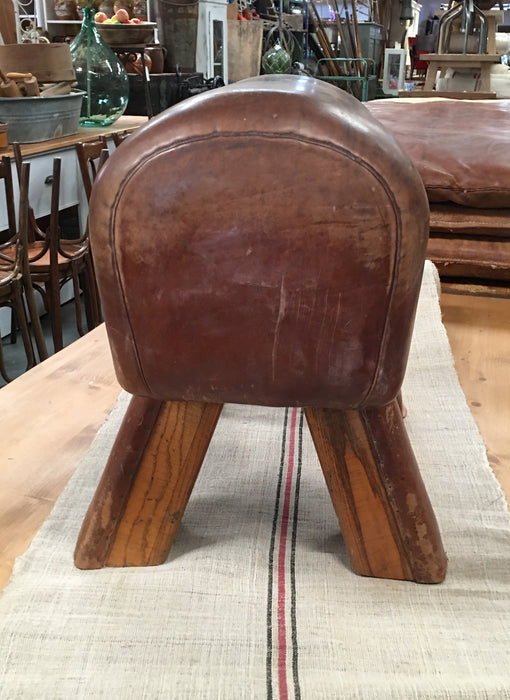 Vintage  Romanian Pommel Horse Leather Seat #3085