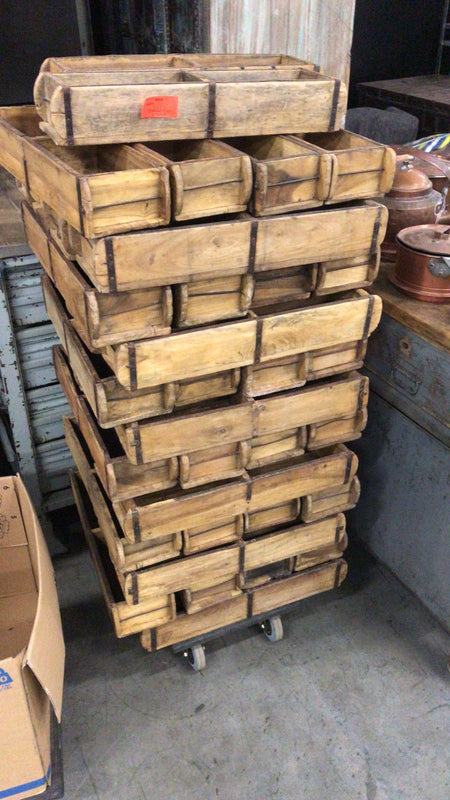 Vintage industrial French industrial wooden crate #2375