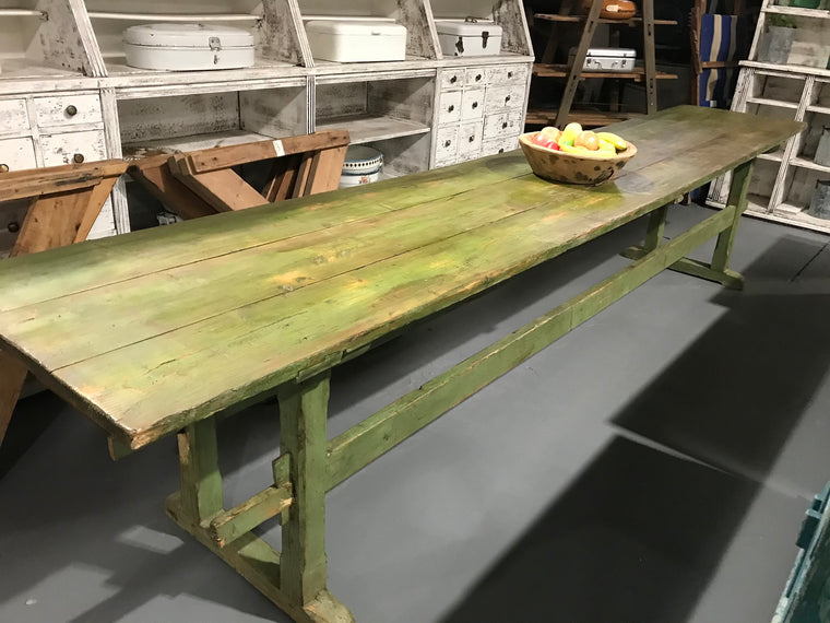 Vintage industrial European kitchen farmhouse dining table 3.8 long #2759 long green